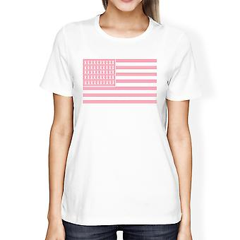 Pink Flag Breast Cancer Womens White Cancer Awareness Tshirt Gifts