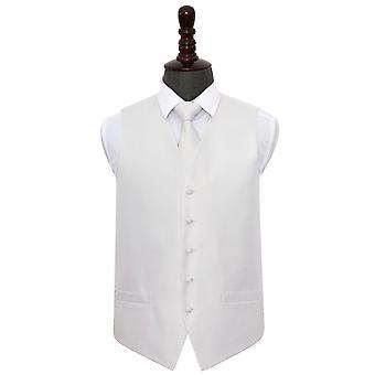 Ivory Greek Key Wedding Waistcoat & Tie Set