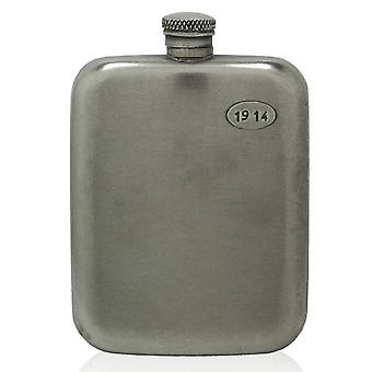 Vintage 1914 Engraved Pewter Hip Flask 6oz