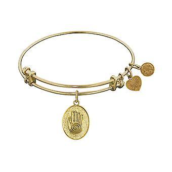 Stipple Finish Brass Hand of Fatima Angelica Bangle Bracelet, 7.25