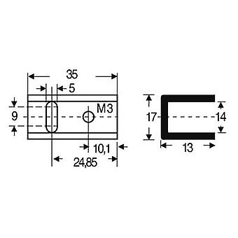 Heat sink 17 C/W (L x W x H) 35 x 17 x 13 mm TO 220 Fischer Elektronik SK 13 35 SA-220