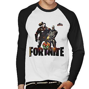 Fortnite Nitemares Skeleton Hockey Mask Men's Baseball Long Sleeved T-Shirt