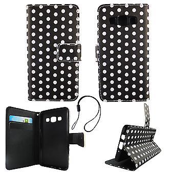 Handyhülle Tasche für Handy Samsung Galaxy A3 2015 Polka Dot Schwarz Weiss