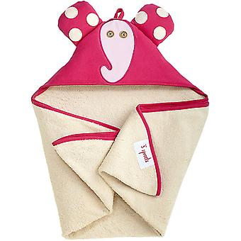Triangle hooded bathrobe pink elephant-100% cotton Terry