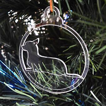 Dog Bauble Clear Acrylic Christmas Decorations 6pk - Lying Chihuahua