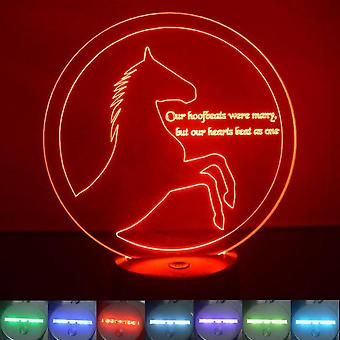 Rearing Circle Horse and Quote Colour Changing LED Acrylic Light