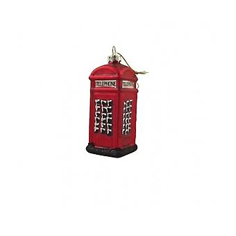 Gisela Graham Glass Telephone Box Collectable Christmas Decoration
