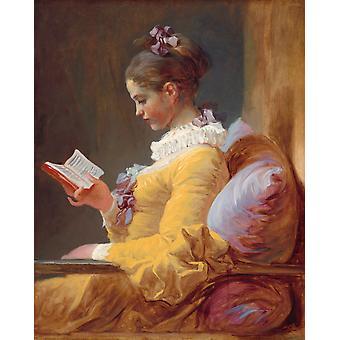 Молодая девушка чтение, Жан Оноре Фрагонара, 50x40cm