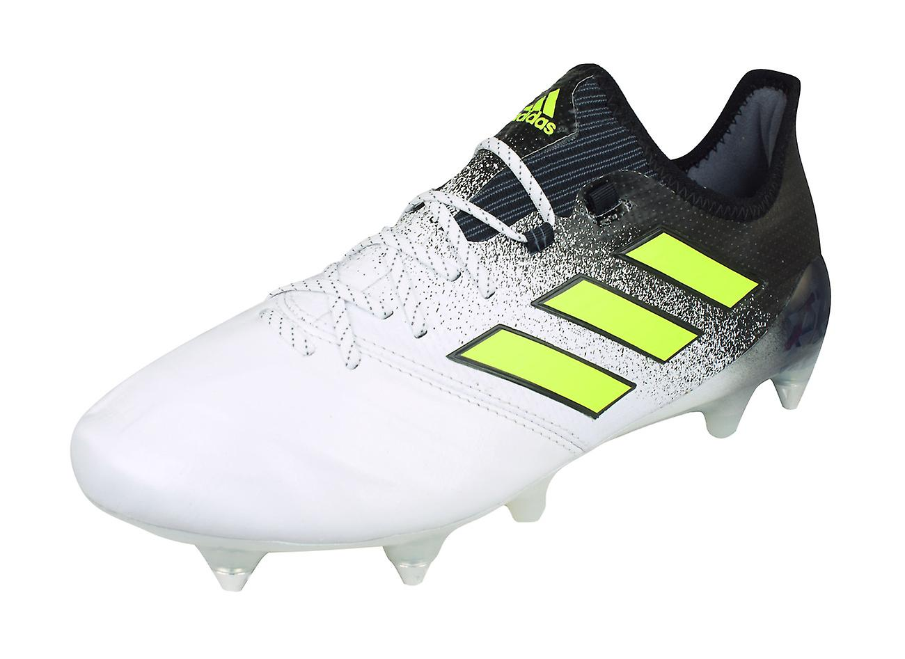 Adidas Ace 17.1 SG Leather Mens Soft Ground Football bottes - blanc and noir