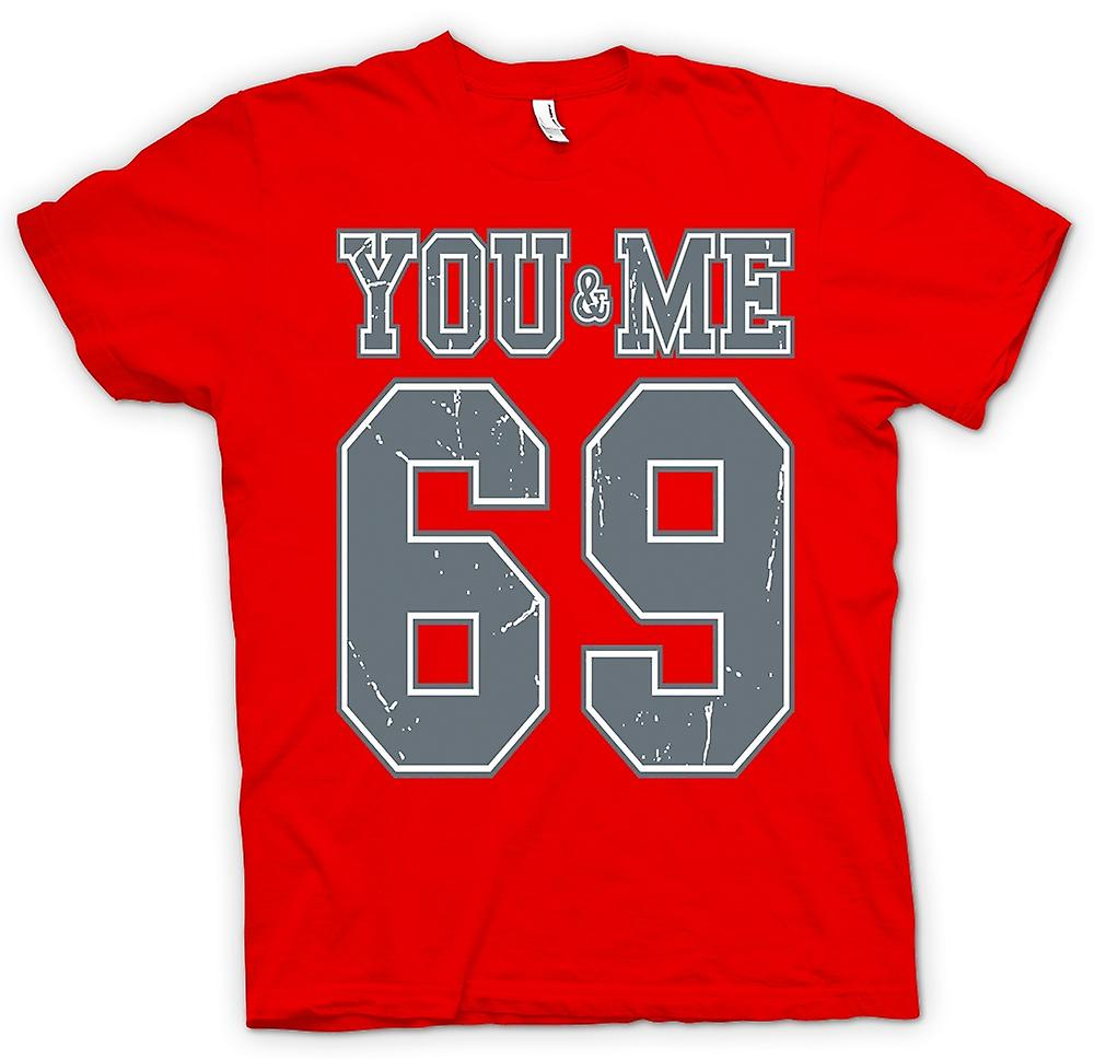 Heren T-shirt - jij en ik 69 - College Football - Funny