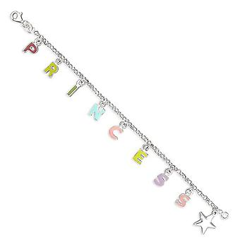 TOC Sterling Silver Princess & Star Charm Bracelet for Girls, 15cm