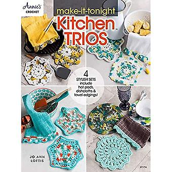 Make-It-Tonight Kitchen Trios: 4 Stylish Sets Include Hot Pads, Dishcloths & Towel Edgings!