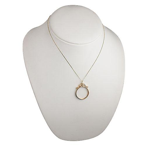 9ct Gold 33x27mm 1/10th Krug mount channel with 2 scrolls Pendant with a curb Chain 18 inches