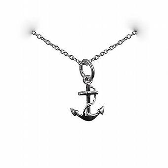 Silver 13x10mm anchor symbol of hope Pendant with a rolo Chain 24 inches