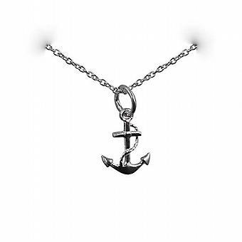 13x10mm plata símbolo de ancla de esperanza colgante con un rolo cadena de 24 pulgadas