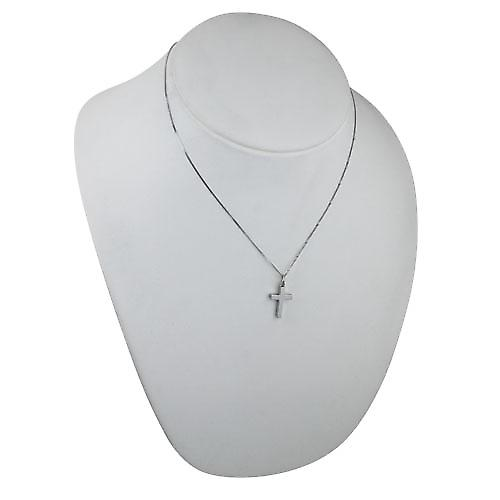 9ct White Gold 20x12mm plain solid block Cross with a curb Chain 18 inches