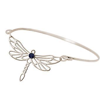 Gemshine Armband Libelle mit blauem Iolith Edelstein in 925 Silber oder hochwertig vergoldeter Armreif. Nachhaltiger, qualitätsvoller Schmuck Made in Spain