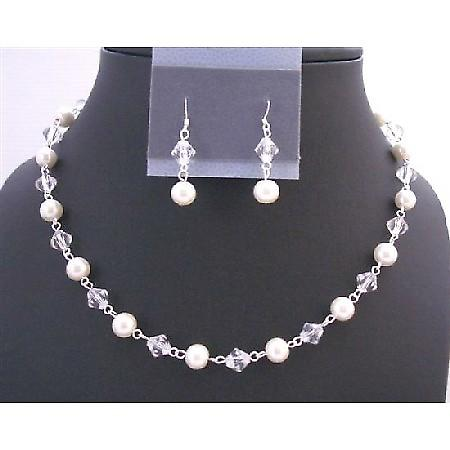 Clear Crystals & White Pearls Bridal Wedding Necklace Jewelry Set