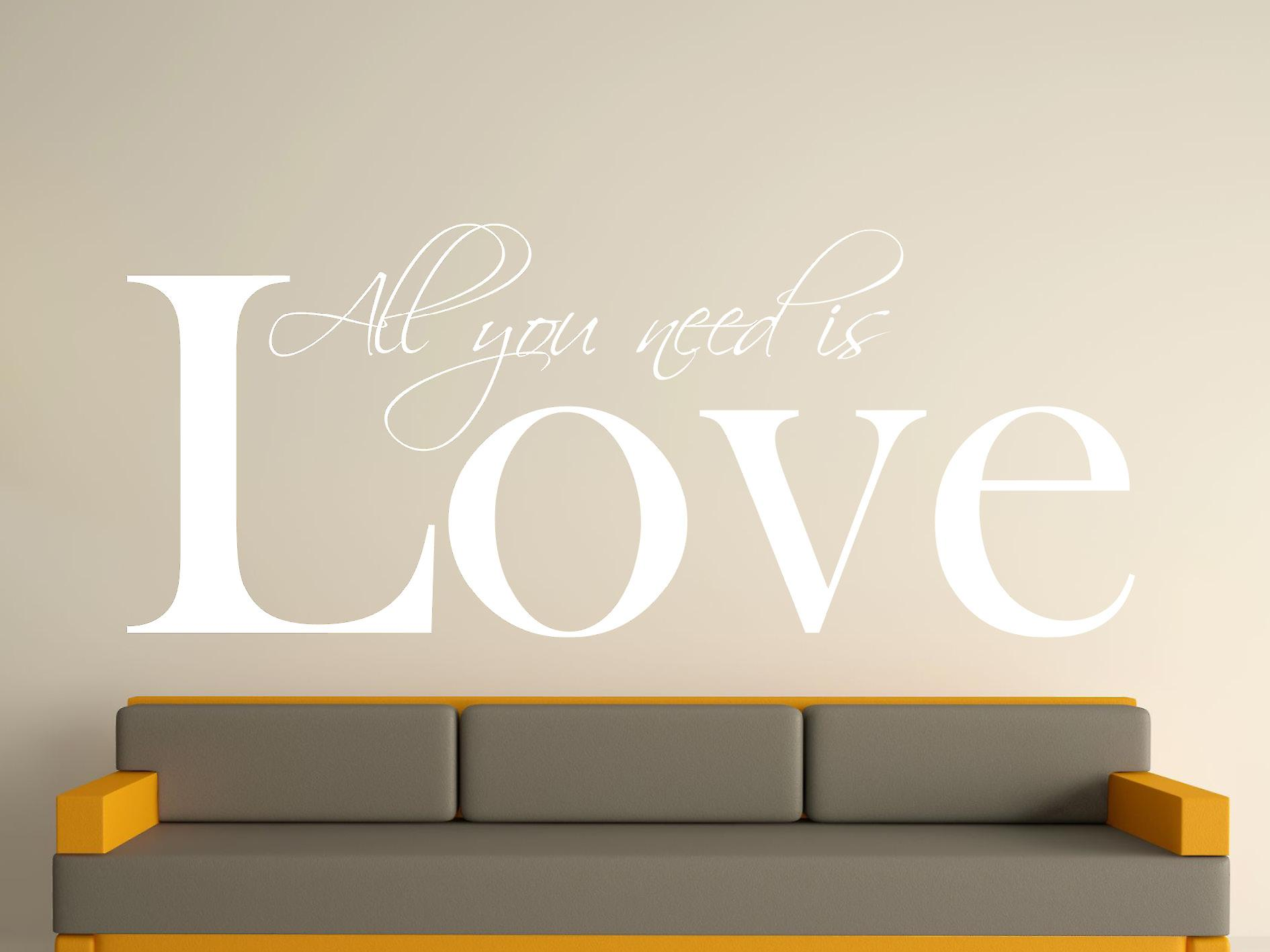 All You Need Wall Art Sticker - White