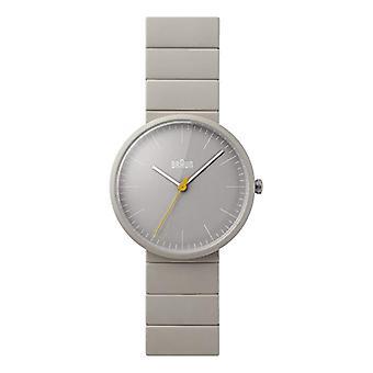 Braun-analoge Quarz-Armbanduhr Herrenuhr mit Leder grau BN0171GYGYG Keramik