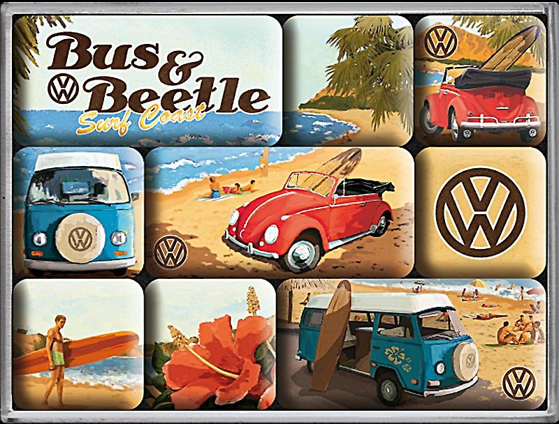 VW Volkswagen Bus & Beetle set of 9 mini fridge magnets in box (na)