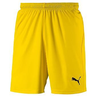 PUMA League s core with letter men's football shorts Cyber yellow-black