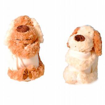 Perro suave con manta de lana
