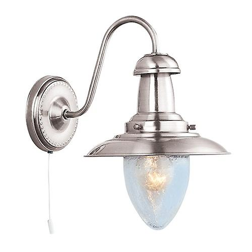 Searchlight 5331-1SS Fisherman Satin Silver Finish Switched Wall With Seeded Glass