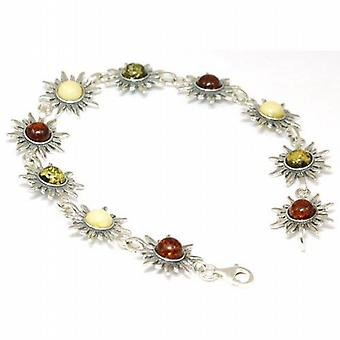 The Olivia Collection Sterling Silver Sun Shape Amber Bracelet