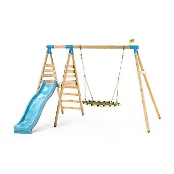 TP Toys Fiordland Wooden Swing Set and Slide With Nest Swing