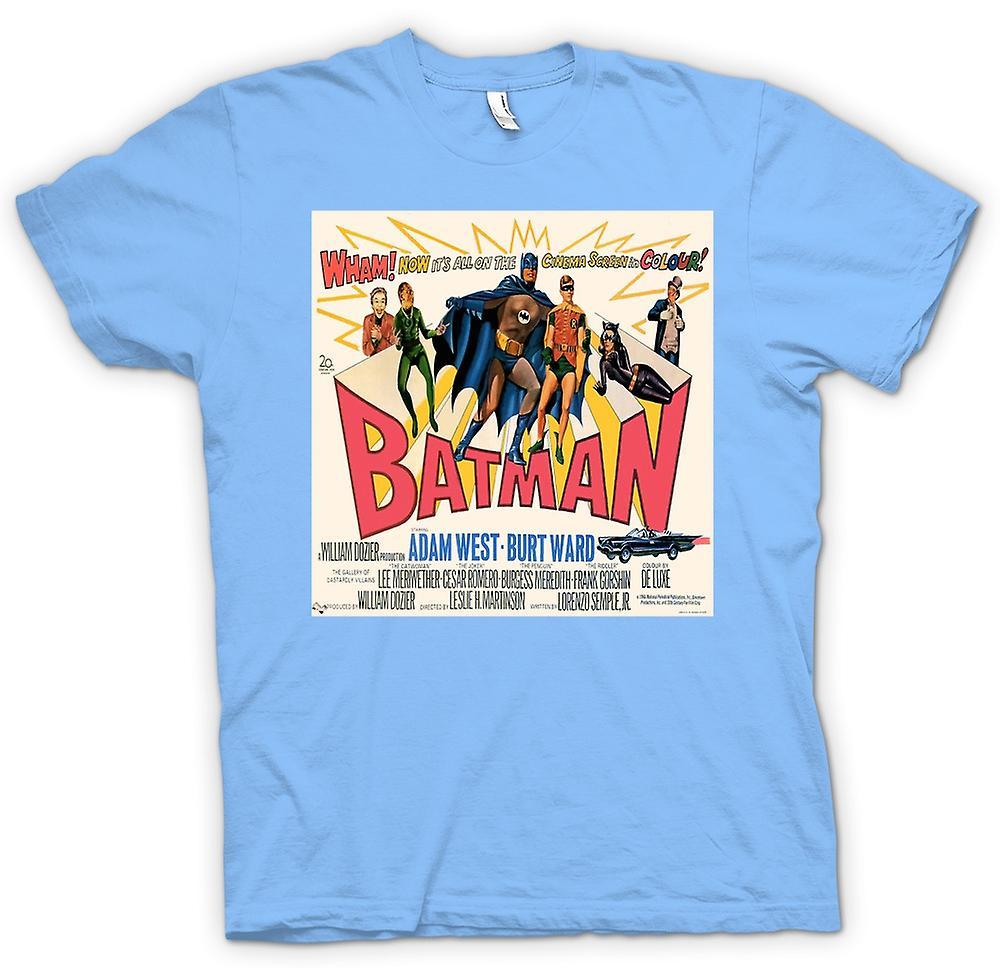 T-shirt Mens - Batman Adam West - clássico dos filmes B - cartaz