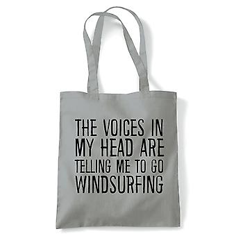 Voices In My Head Windsurfing Tote - France Voices My Head Crazy Funny Hobby Addiction Expert (fr) Reusable Shopping Cotton Canvas Long Handled Natural Shopper Eco-Friendly Mode