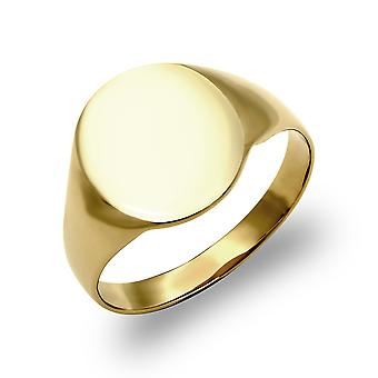 Jewelco London Men's Solid 9ct Yellow Gold Oval Signet Ring