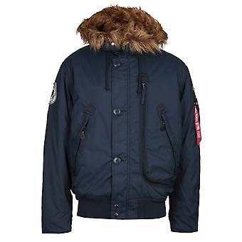 Alpha Industries Navy Faux Fur Hood Polar Jacket