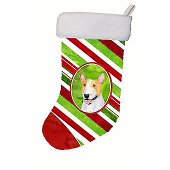 Bull Terrier Winter Snowflakes Christmas Stocking SS4565