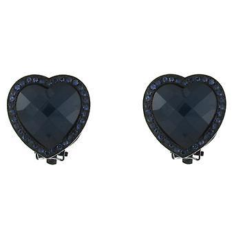 Clip en pendientes tienda Montana Clip azul profundo corazón de cristal en pendientes