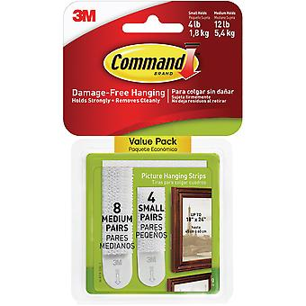 Command Picture Hanging Strips 12/Pkg-8 White Medium Sets & 4 White Small Sets 17203ES