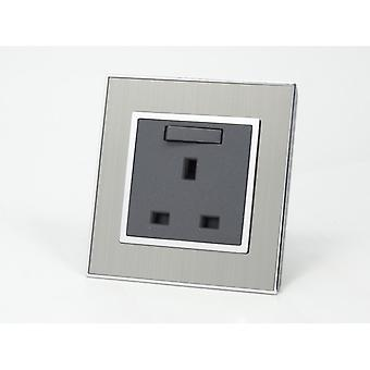 I LumoS AS Luxury Silver Satin Metal Single Switched Wall Plug 13A UK Sockets