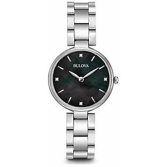 Bulova Womens Stainless Steel Bracelet Black Mother Of Pearl Dial 96S173 Watch