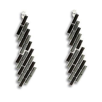 Leila bamboo-inspired grey dangling earrings