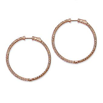 In zilver roze verguld met CZ Hoop Earrings Hoop Earrings