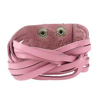 Rosa läder flätat armband armband