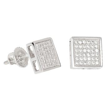 925 sterling silver MICRO PAVE earrings - SQUARE 9 mm