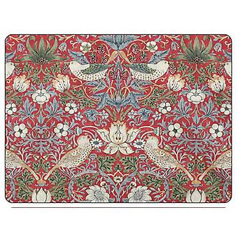 Pimpernel Morris & Co Strawberry Thief Placemats, Red, Set of 6