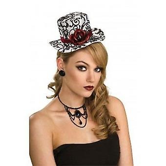 Rubie's Mini Hat White / Black With Red Roses (Costumes)