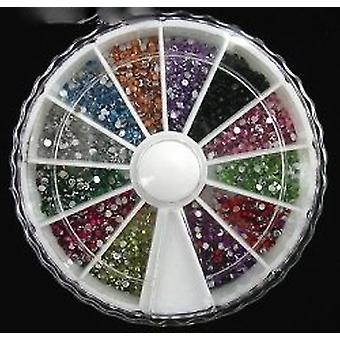 Nail Art Gems 2000 1.5mm Round Mixed Colours in small carousel [Misc.]
