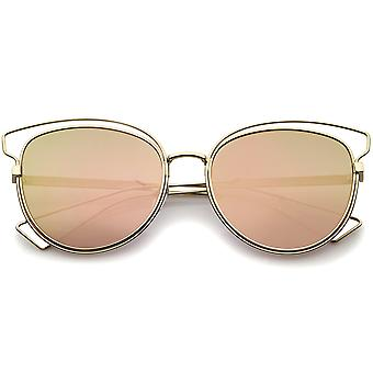 Womens Fashion Open metalen Frame gespiegeld Lens Cat Eye zonnebril 55mm