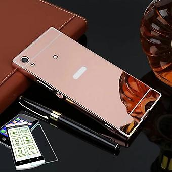 Mirror aluminium of bumper 2 piece pink + 0.3 mm H9 bulletproof glass for Sony Xperia XA1 G3112 G3121