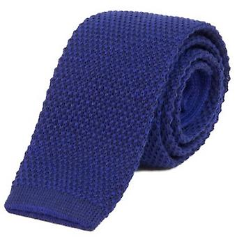 40 Colori Double Threaded Wool and Cotton Knitted Tie - China Blue/Dark Blue