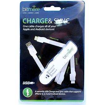 Charge and Sync Mult-Tool for iPhone 4 5 6 7 & Android Phones - WHITE.
